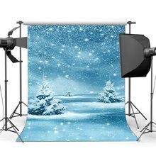 Fondo de fotografía Feliz Navidad nieve cubierto paisaje Bokeh Halos brillo lentejuelas caída de fondo