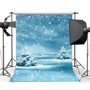 Image 1 - Photography Backdrop Merry Christmas Snow Covered Landscape Bokeh Halos Glitter Sequins Falling Background