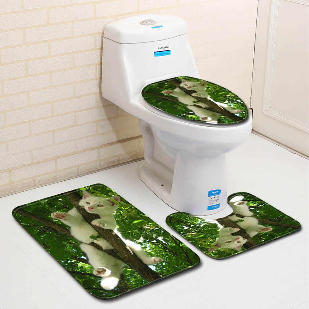... 3 Pcs Brand New Wave and Beach Anti Slip Toilet Carpet Bathroom Mat Toilet Mats for ...