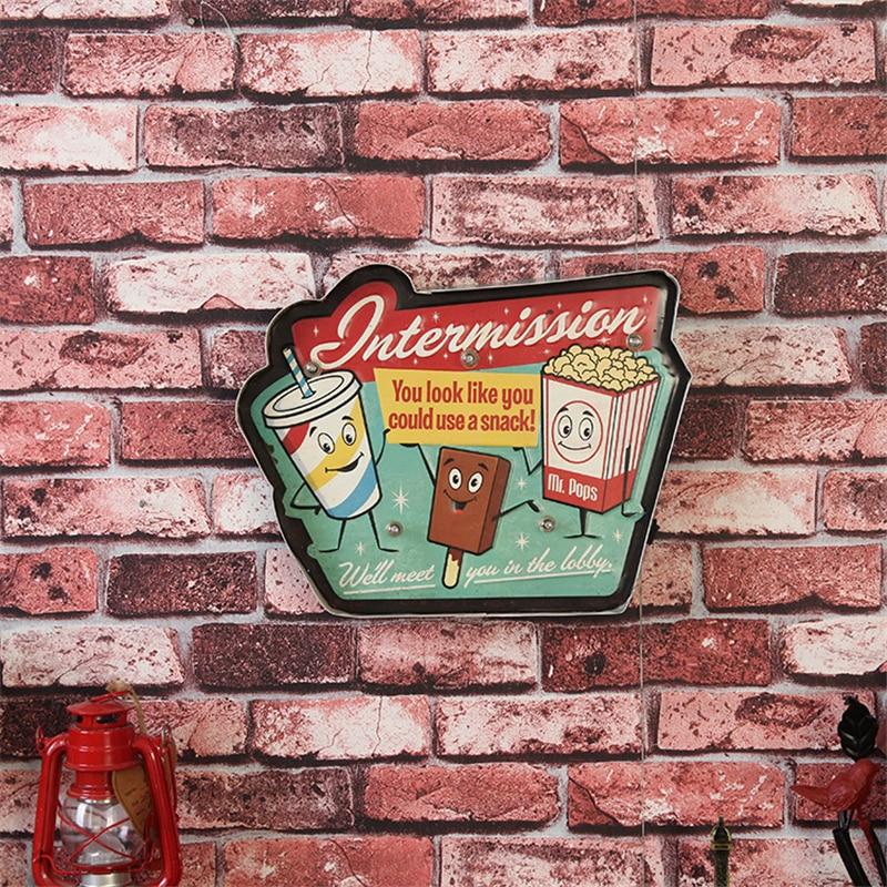 Retro LED Neon Signage Vintage Popcorn Ice Cream Coke Home Decor Illuminated Iron Light Shop Bar