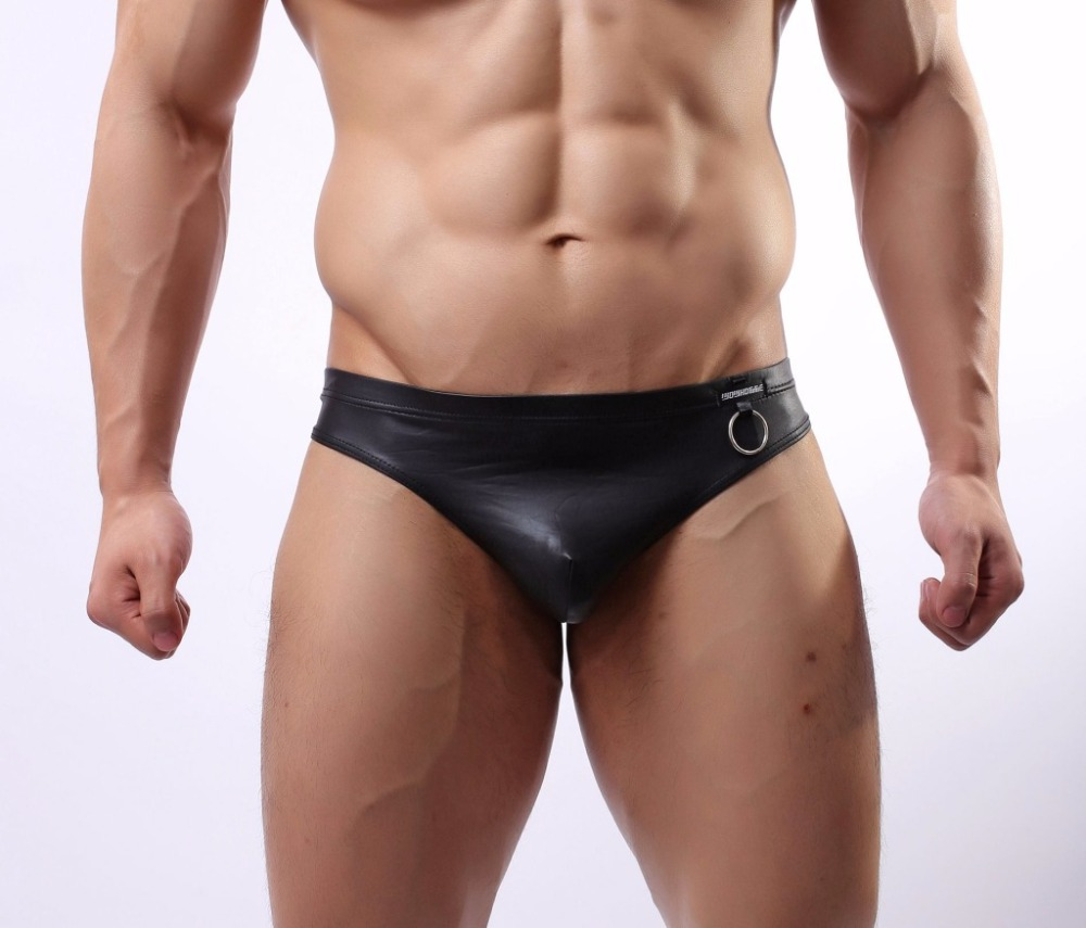 2017 Men Underwear Solid Color Leather Men Briefs Transparent Panties Fashion Men Sexy Underwear Satin Underwear Men