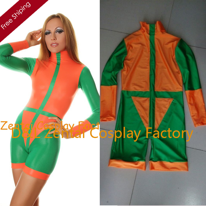 Free Shipping DHL Sexy font b Women b font Green Orange Zentai Mini Suit Catsuits Leotard