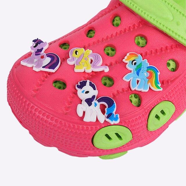 e04140140 8 PCS Crocs Hole Shoes PVC Shoe Charms Shoe Buckles Accessories Little Pony  Fit Bands Bracelets Gifts Carlo Chi Shoes DIY Craft
