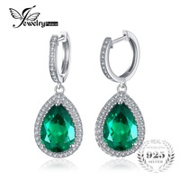 New Luxury HUGE 7 58ct Water Drop Cut Nano Russian Emerald Earrings Women Wedding Set 925