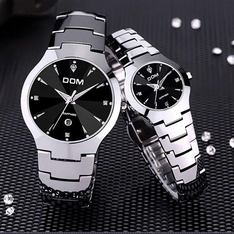 DOM 698 Для мужчин часы лучший бренд класса люкс кварцевые часы моды Вольфрам Сталь Водонепроницаемый Часы Montre роскошные часы Повседневное лю...
