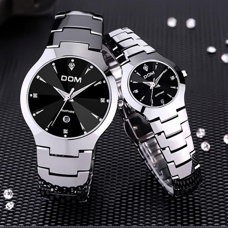 1a3c9953e03 DOM 698 dos homens Relógios Top Marca de Luxo de Quartzo Moda Relógio de Aço  de Tungstênio Relógio À Prova D  Água amantes Montre Relógio de Luxo Casual  em ...