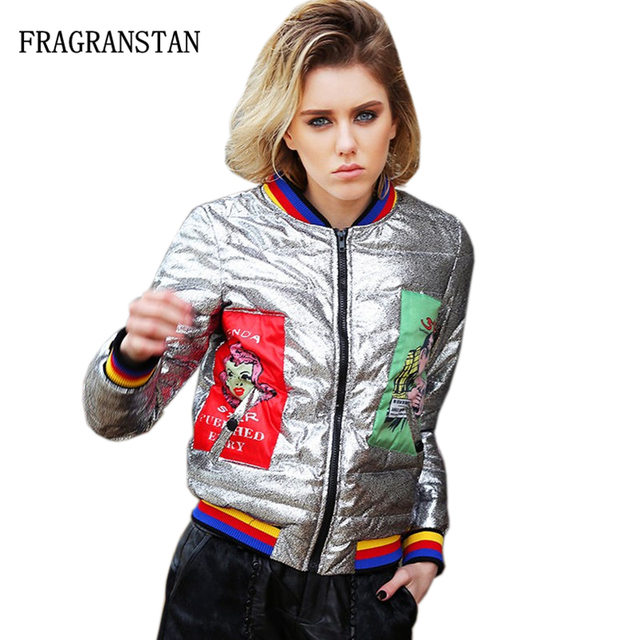 dc179936720 2018 New Women Winter Short White Duck Down Jacket Personality Cartoon  Printed Silver Bright Surface Female