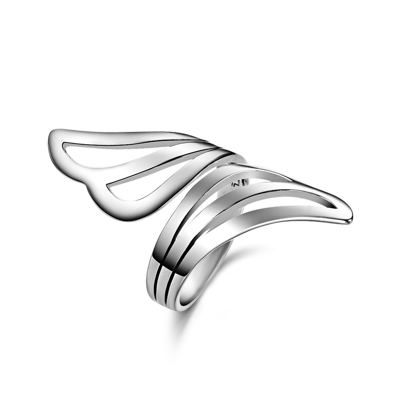 Fashion wings open ring women 925 sterling silver jewelry fashion birthday gift free carving - CRYSTAL BEADS store