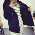 El nuevo abrigo de invierno Harajuku Colegio viento impresión de la historieta de manga larga con capucha engrosamiento capa femenina