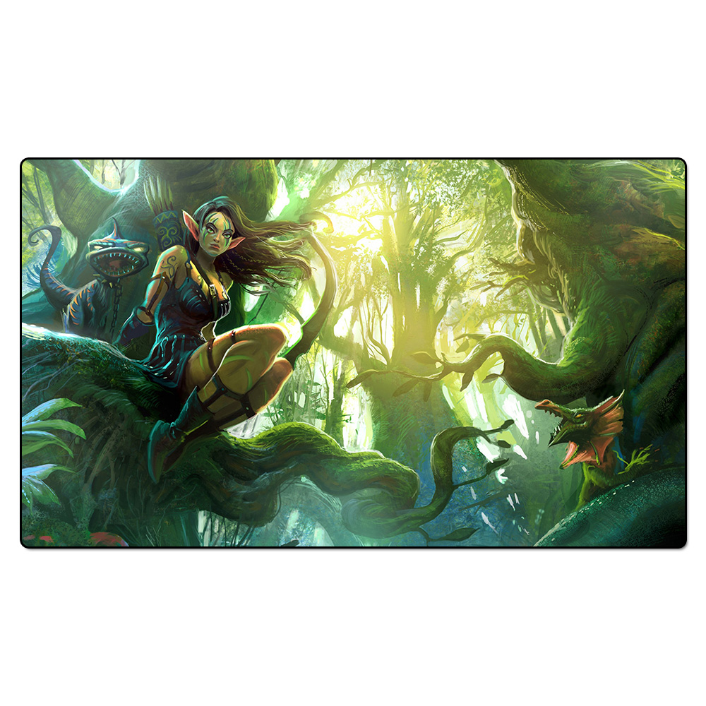 ( Wood Elf Playmat ) Board Games Table Pad, Magical Card The Games Gathering Play Mat, Custom Design Playmat with Free Gift Bag board games