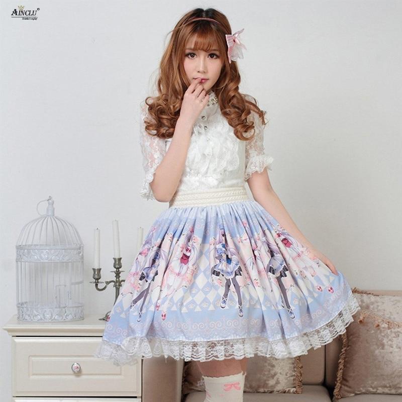 Lolita Style Lace Skirts Womens PolyesterPink Blue Rose Gemini Printed Lovely Sweet Princess Pleated Lolita Skirts XS-XXL