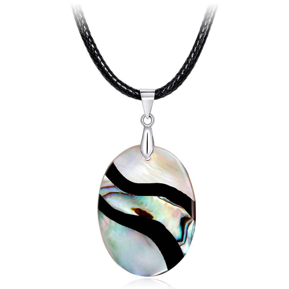 Natural Pearl Shell Necklace High Quality Abalone Shell Oval Pendant Long Necklaces Naturally Form River Pattern Wedding Jewelry