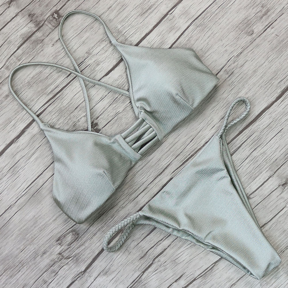 Bikini 2018 Sexy Swimwear Women Swimsuit Bikini Set Cross Bandage Beach Bathing Suit Low Waist Swimsuit Push Up Brazilian Suit 5