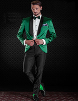 Shiny Satin Green Tuxedo Jacket With Black Pants Custom Made Groom Tuxedos Groomsman Suit wedding suit (Jacket+Pantst)