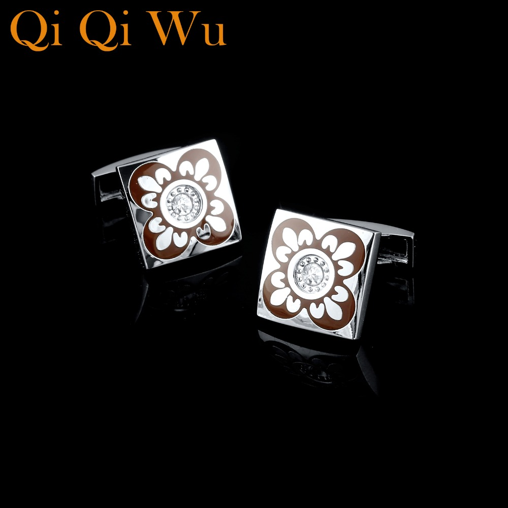 Qi Qi Wu Square Enamel Flower Cufflinks Mens Wedding Favors French Shirt Cuff Buttons Men Silver Arm Cuff links Christmas Gifts in Tie Clips Cufflinks from Jewelry Accessories