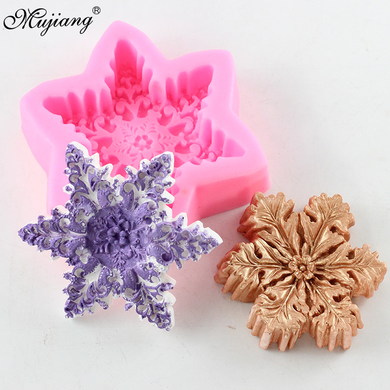 Snowflake Shape Soap Making Silicone Molds 3D Craft Candle Resin Clay Mold DIY Chocolate Christmas Fondant Cake Decorating Tools