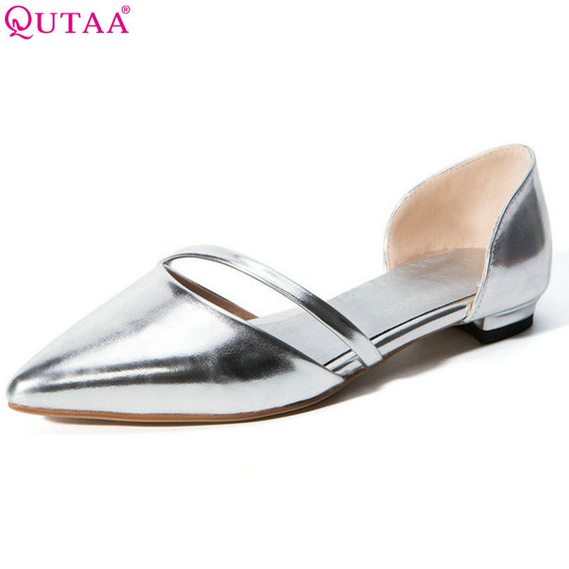QUTAA 2017 Summer Women Pumps Square Low Heel PU Leather Pointed Toe Sexy Silver Elegant Ladies