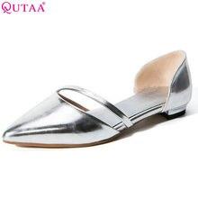 QUTAA 2017 Mujeres Del Verano Bombas Square Taco Bajo Pu Punta estrecha Sexy Señoras Elegantes zapatos de Boda de Plata Zapatos de Tamaño 34-43