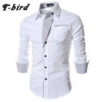 T Bird Brand 2017 Dress Shirts Mens Striped Shirt Cotton Slim Fit Chemise Long Sleeve Shirt