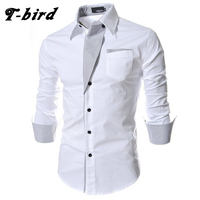 T Bird Brand 2017 Dress Shirts Mens Striped Shirt Cotton Slim Fit Chemise Long Sleeve Shirt