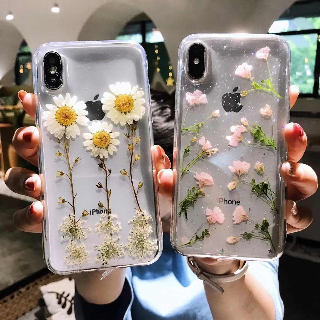 Nyata Bunga Bunga Kering Lembut TPU Menutupi Belakang untuk iPhone X 6 6 S 7 Plus Case Ponsel Transparan case untuk iPhone XR X Max Cover