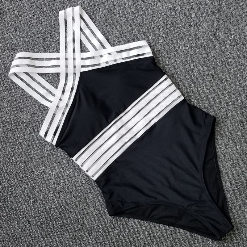 Sexy Mesh One Piece Swimsuit Swimwear Women Push Up Monokini Plus Size Bathing Suit Female Beach Black Bodysuit Swim Suit Bather