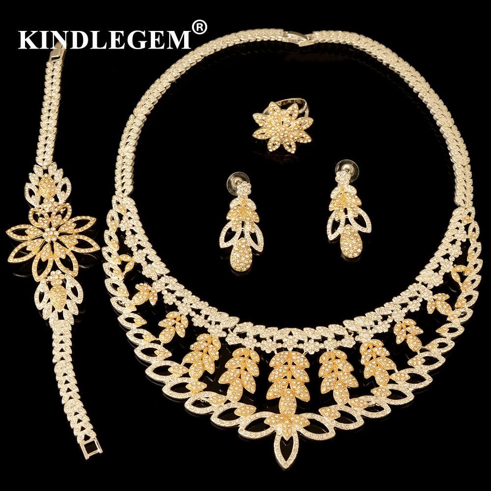 Kindlegem African 4pcs Bridal Jewelry Sets New Dubai Gold Jewelry Sets For Women Nigeria Wedding Party Dress Accessories Design