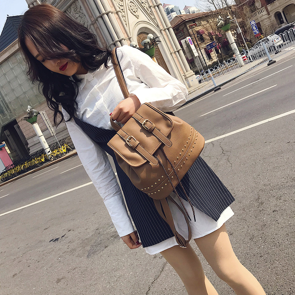 Fashion Women Girl Vintage Backpack Rivet Decoration Travel Rucksack School Bag Popular  ...
