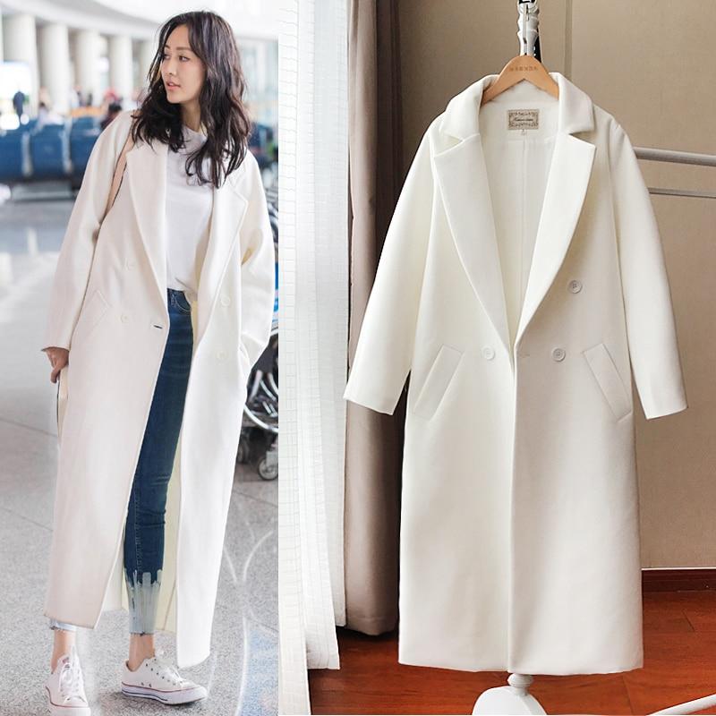 Women Clothing Autumn And Winter Korean Version Of The Ultra-long Knee-length Woolen Coat White Women Woolen Coat Female