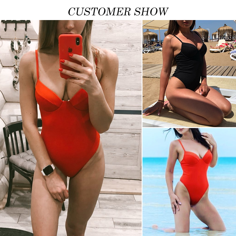 Push up thong bikini 2019 High cut one piece swimsuit female monokini String sexy bathing suit Ribbed backless bodysuit swimwear