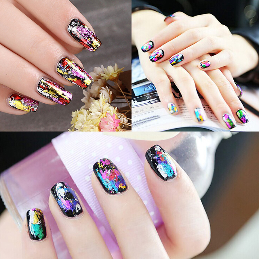 US $0 69 |1 Sheet Metal Starry Sky Transfer Foil Nail Sticker Copper Color  Holographic Reflective Mirror Surface Female Nail Art Decal #34-in Stickers