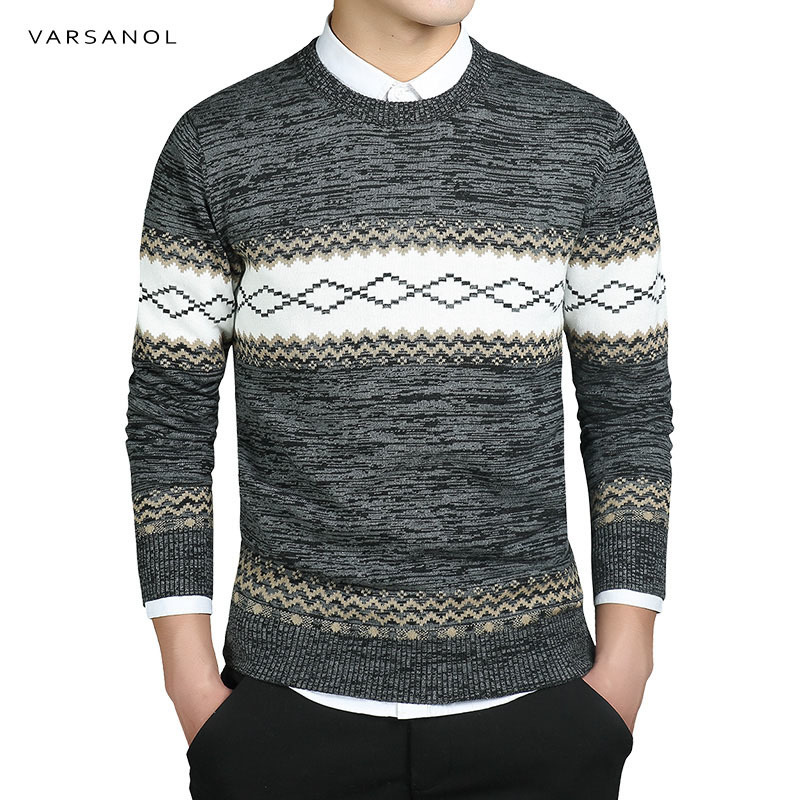 Varsanol черный Цвет Для мужчин S пуловер свитер пальто с длинными рукавами и круглым вырезом Повседневное хлопковый свитер Для мужчин в полоску Тонкий теплый M-3XL Лидер продаж