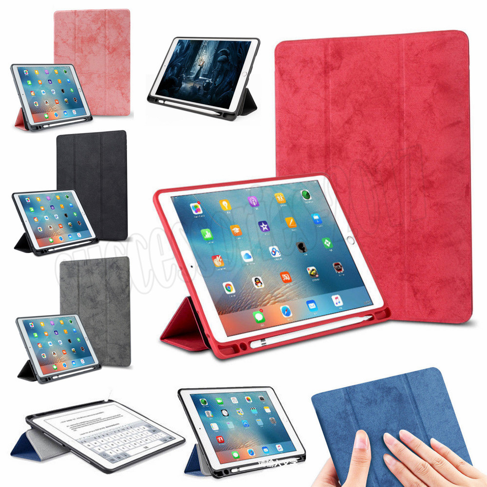 For Apple iPad Pro 10.5 2017 Case Solid Ultra-slim Faux Leather Flip Folio Stand Case Auto Sleep/Wake Cover With Pencil Holder