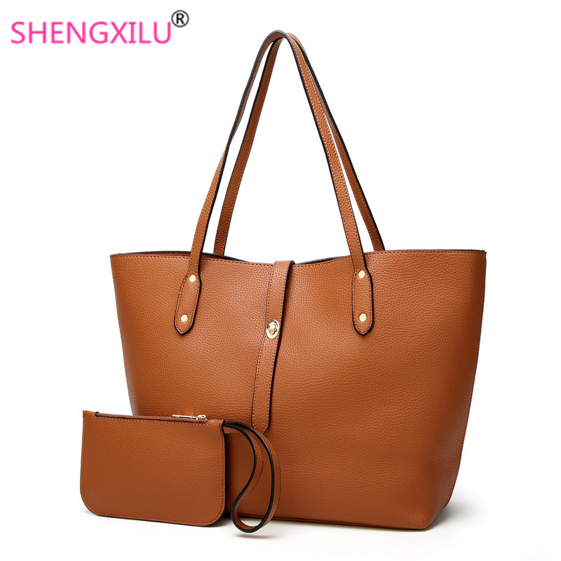 67555528a190 US $8.79 45% OFF|Shengxilu Composite Bags for Women Europe and America  Fashion Female Shoulder Bag Autumn Winter Ladies Solid Leather Handbags-in  ...