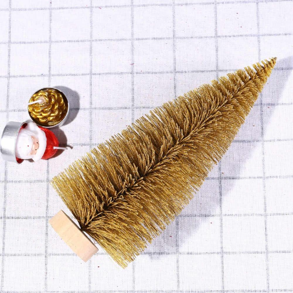 Рождественская елка мини сосна с деревянной основой DIY ремесла Домашний Настольный Декор рождественские украшения для дома 2018 новый год # SS