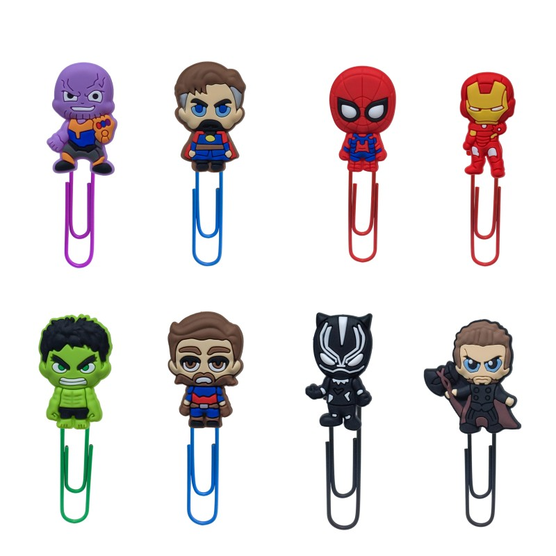 8pcs/lot Avenger Hot Movie Figure Bookmarks Infinity War Paper Clip School&Office Supplies Kid Stationery Birthday Gift