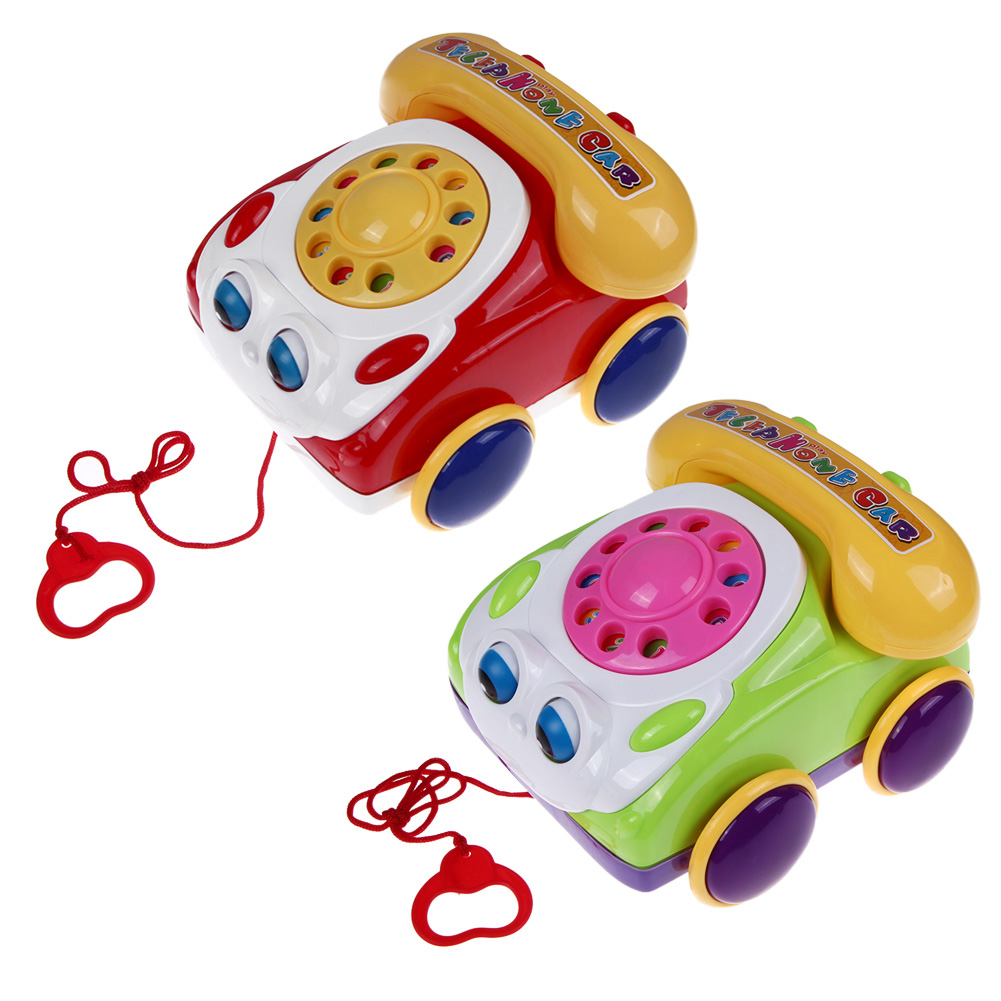 Baby Telephone Toy Colorful Plastic Childrens Learning Fun Music Phone Toy Basics Chatter Telephone Classic Kids Pull Toy