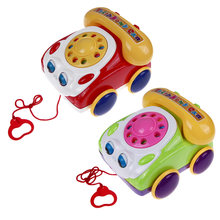 Baby Telephone Toy Colorful Plastic Children's Learning Fun Music Phone Toy Basics Chatter Telephone Classic Kids Pull Toy(China)