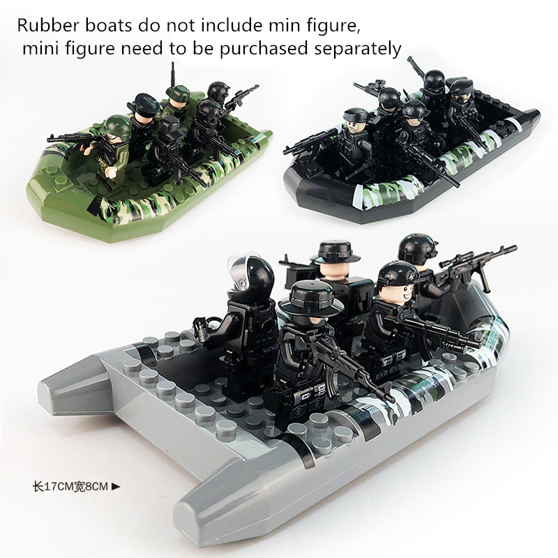 MILITARY Soldiers Rubber Dinghy Camouflage Inflatable Boat Swat Team Soldier Building blocks Toys For children mini legoingMILITARY Soldiers Rubber Dinghy Camouflage Inflatable Boat Swat Team Soldier Building blocks Toys For children mini legoing