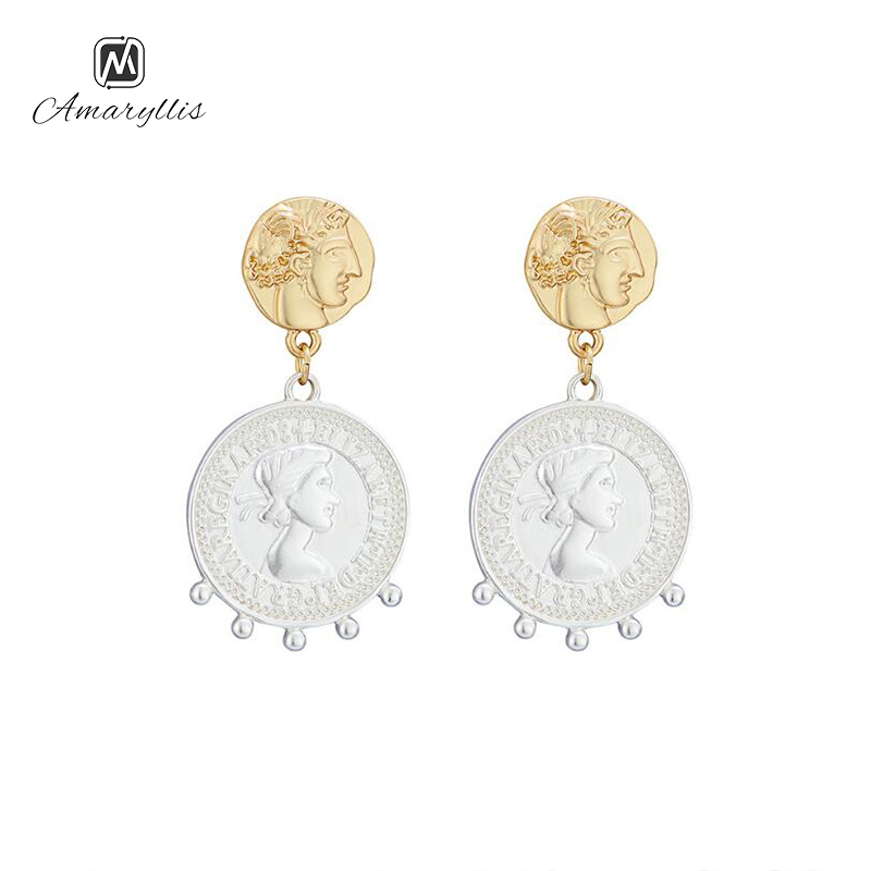 Amaiyllis New Fashion Couple Face Outline Stud Earrings For Women Punk 2-Tone Color Geometric Round Coin Statement Post Earrings