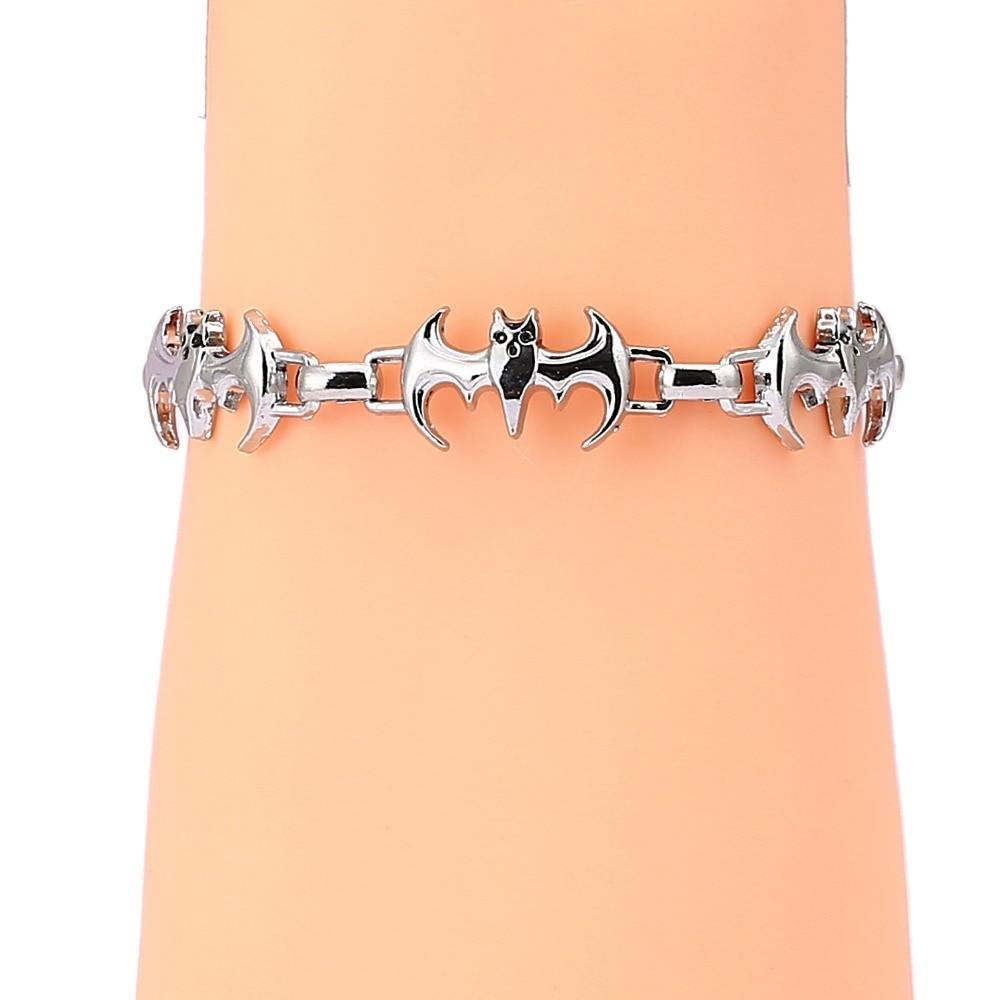 J store Silver Men Bracelets bat shape Charm Chain Bracelet&bangle For man hiphop fashion animal jewelry boy friend gift