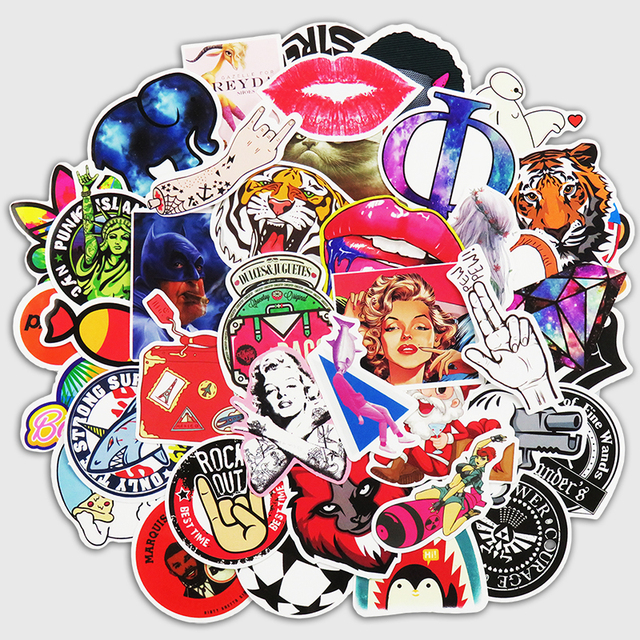 200 Pcs Creative Funny Sticker For Laptop Skateboard Luggage Waterpoof Home Toy Decals Fridge Car Styling Doodle DIY Stickers