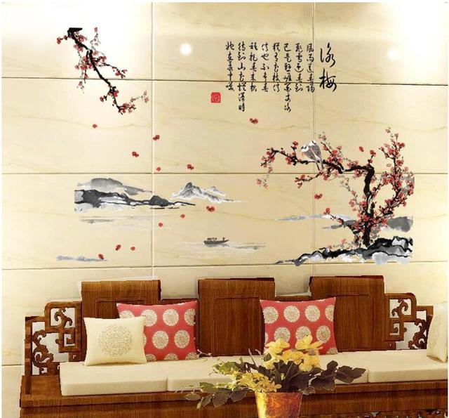 Yongmei ink painting living room bedroom study background Chinese ...