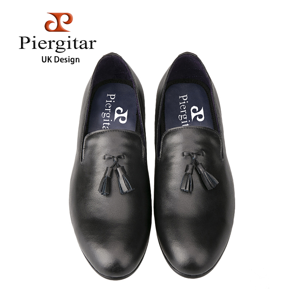 Piergitar British style men dress shoes Prom and Banquet men loafers Full Grain leather with leather tassel men shoe male flats