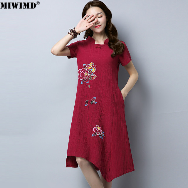93079e3928b8 MIWIMD Women Summer Dresses 2018 New Fashion Vintage Loose Printing Short  Sleeve Irregular Cotton Linen Casual Dress Big Size