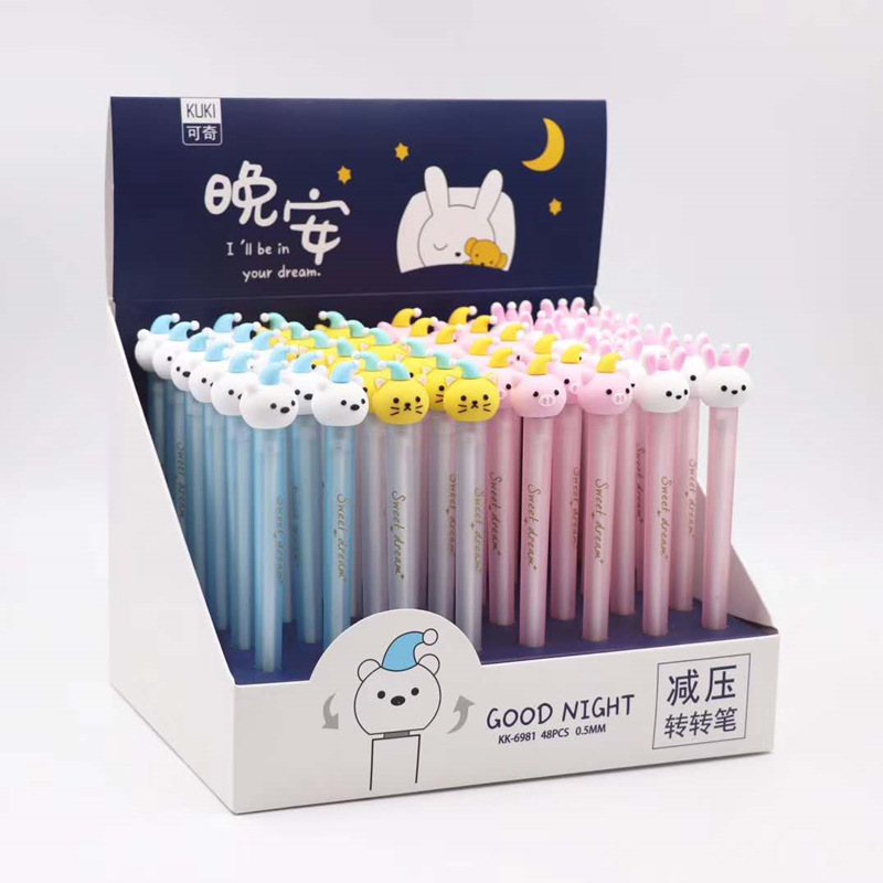 48pcs 1lot Gel Pen Good night decompression School Office Supply Student Stationery Kids Gift Automatic Pencil
