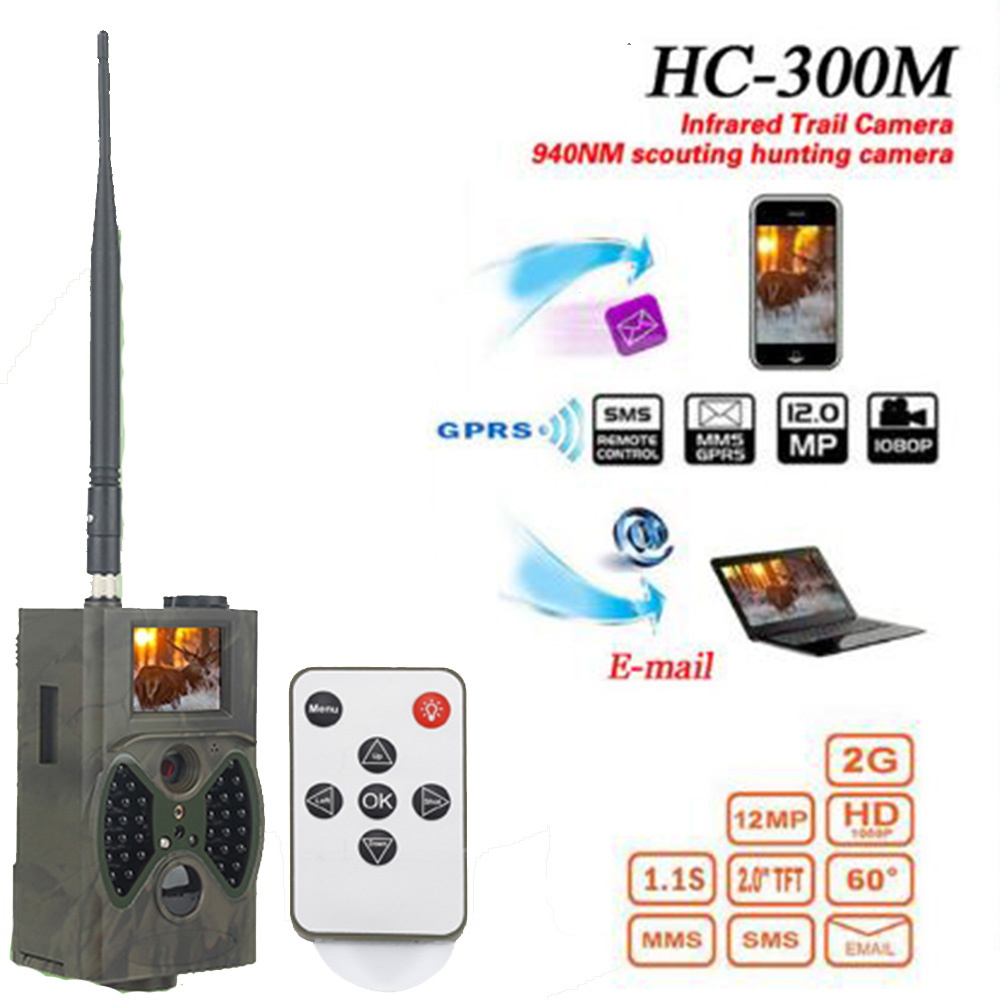 HC300M 12M Hunting Trap Camera HD 1080P Digital Scouting Trail Camera GPRS MMS GSM 940NM Infrared Night Vision Hunting Camera