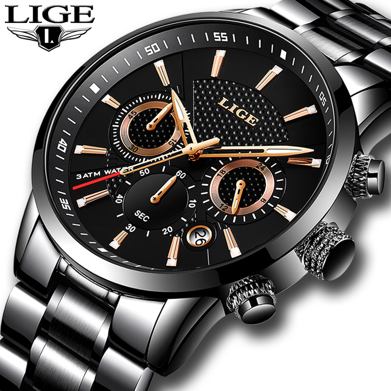 2018 LIGE Mens Watches To Luxury Brand Business Quartz Watch Men Military Sports Waterproof Dress Wristwatch Relogio Masculino