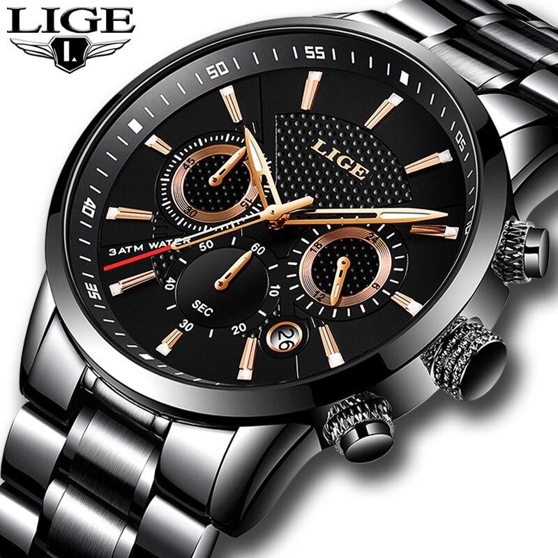 2018 LIGE Mens watches To Luxury Brand business Quartz Watch Men Military Sports Waterproof Dress Wristwatch relogio masculino