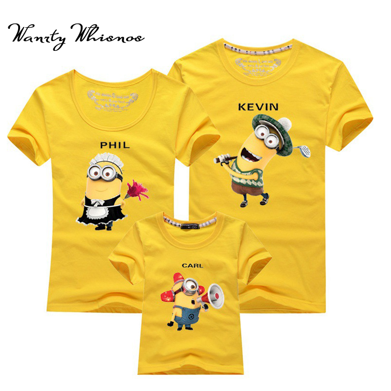 2018 Hot Sale Minions t-shirt Family T Shirts Men Women Baby Clothing Parent-Child T-shirt Cartoon Couple T Shirt For Lovers